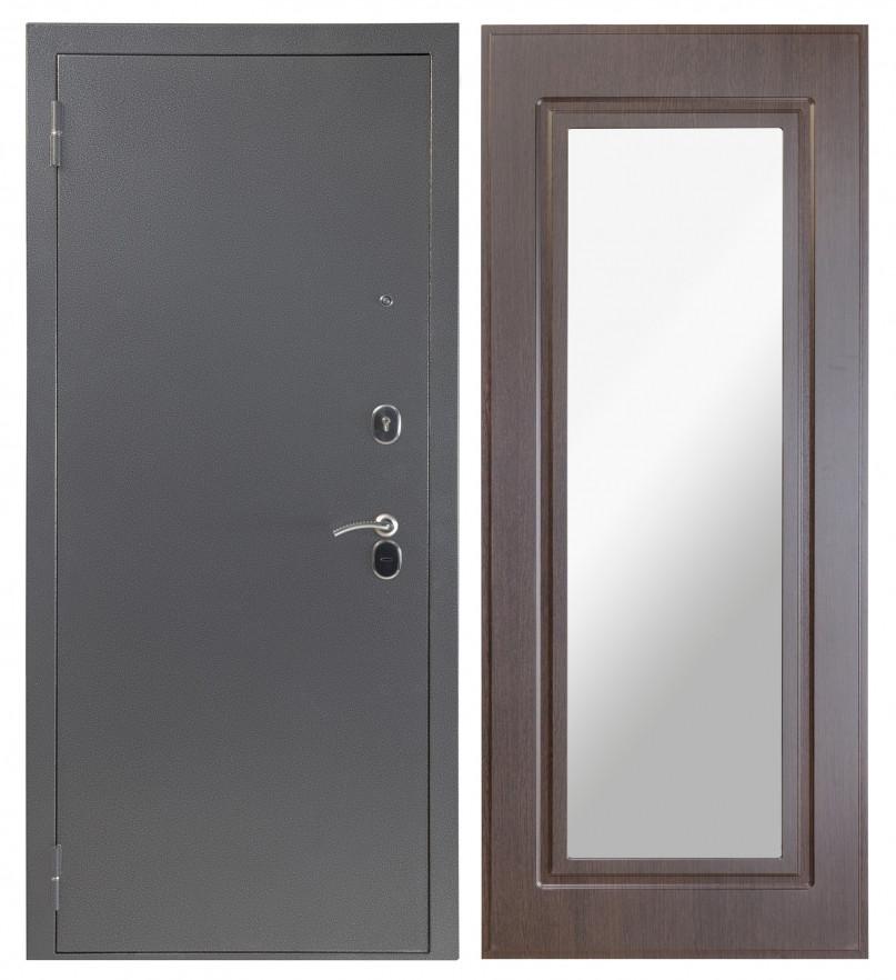 Входная дверь Sidoorov S 80 3к Антик серебро / Зеркало Макси Венге