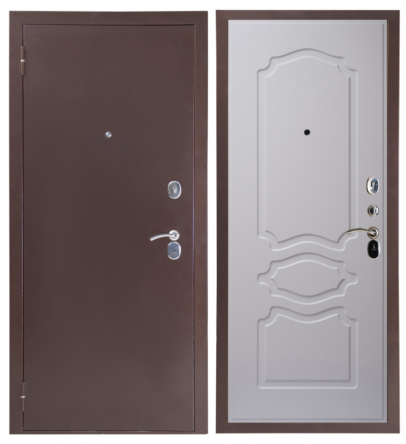 Дверь Sidoorov S 80 3к Антик медь / Женева Люкс Ясень белый
