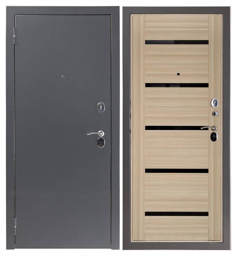 Дверь Sidoorov S 80 3к Антик серебро / Бьянка Акация светлая (черное стекло)