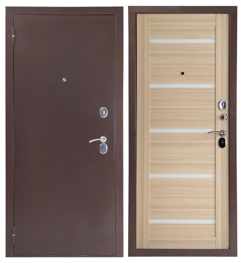 Дверь Sidoorov S 80 3к Антик медь / Бьянка Акация светлая (белое стекло)