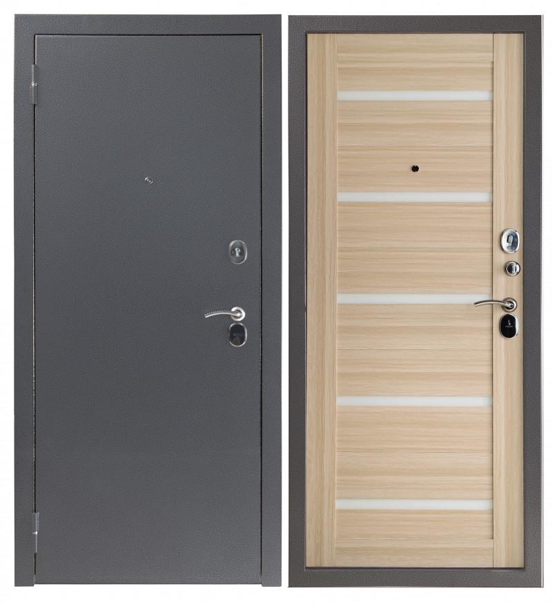 Дверь Sidoorov S 80 3к Антик серебро / Бьянка Акация светлая (белое стекло)