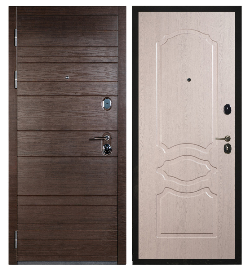 Сейф-дверь Sidoorov S 67 Венге поперечный / Женева Беленый дуб