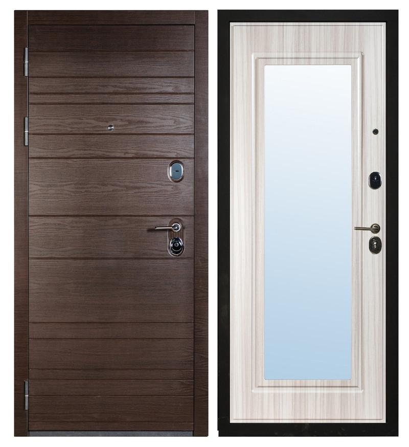 Входная дверь Sidoorov S 67 Венге поперечный / Зеркало Макси Сандал белый