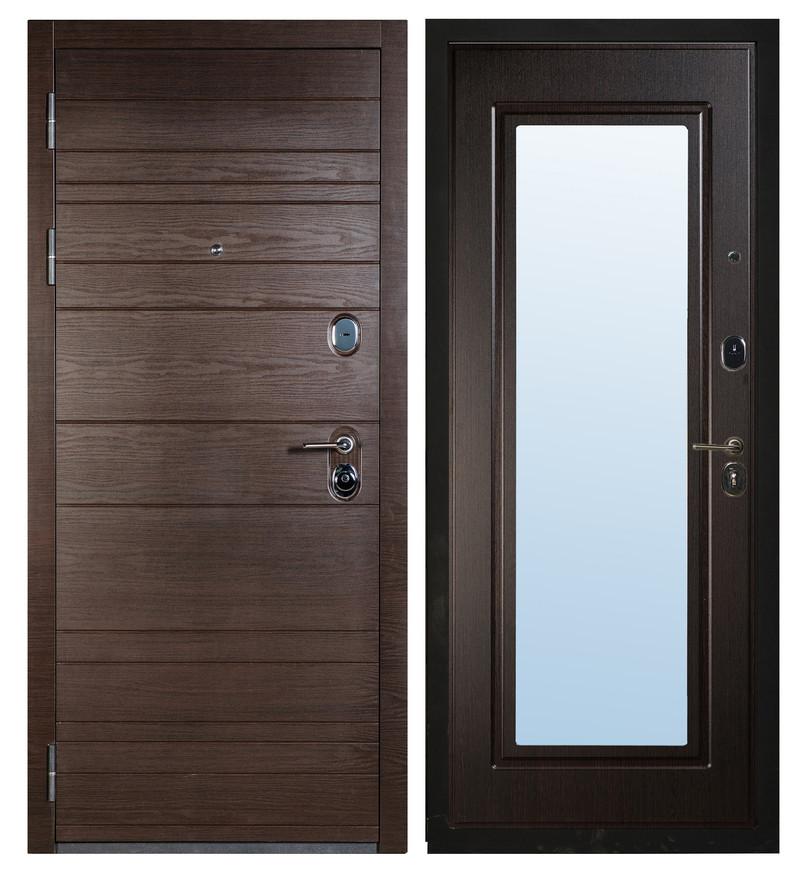 Входная дверь Sidoorov S 67 Венге поперечный / Зеркало Макси Венге