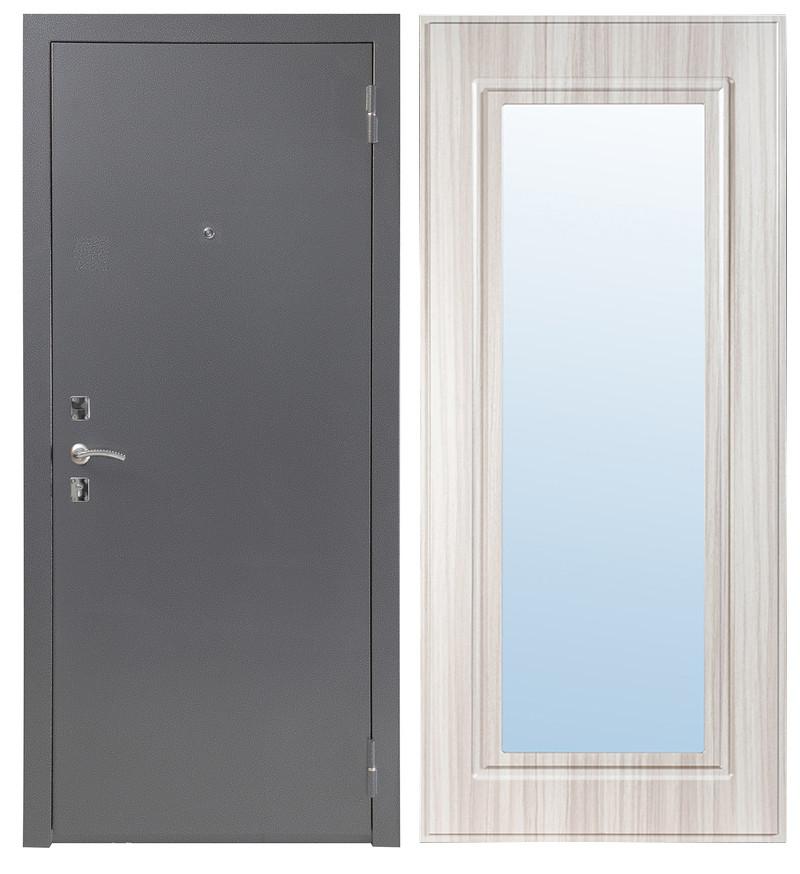 Дверь Sidoorov S 67 Антик серебро / Зеркало макси Сандал белый