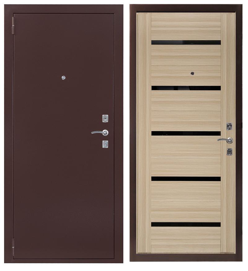 Дверь Sidoorov S 67 Антик медь / Бьянка Акация светлая (черное стекло)