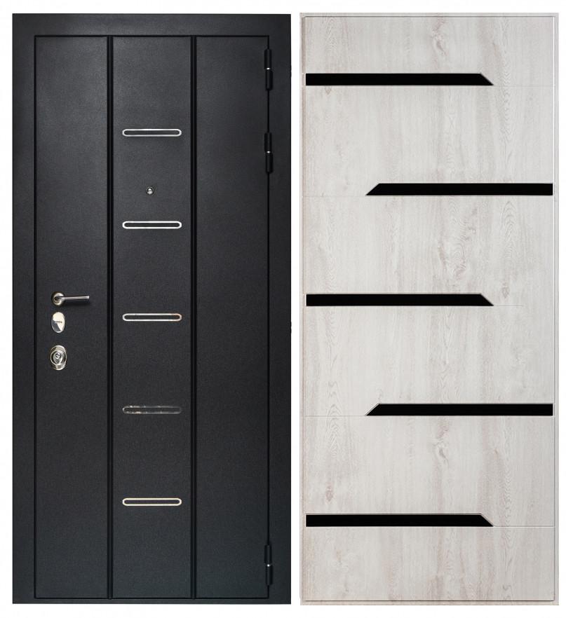 Дверь Sidoorov Максимум SM 90 ФЛ-260 Сосна белая (черное стекло)