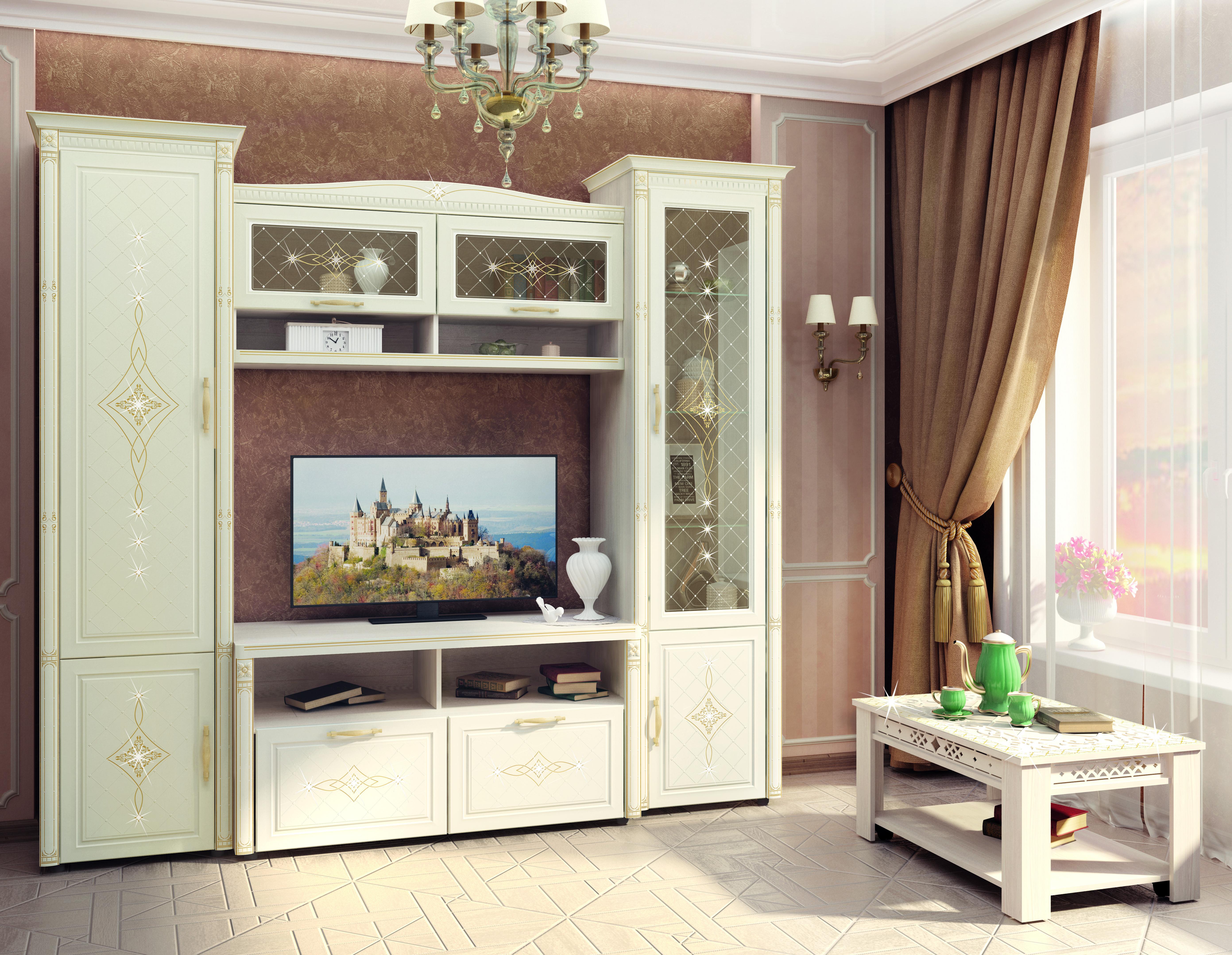 Модульная гостиная Витра Венеция Сосна Астрид / Ваниль
