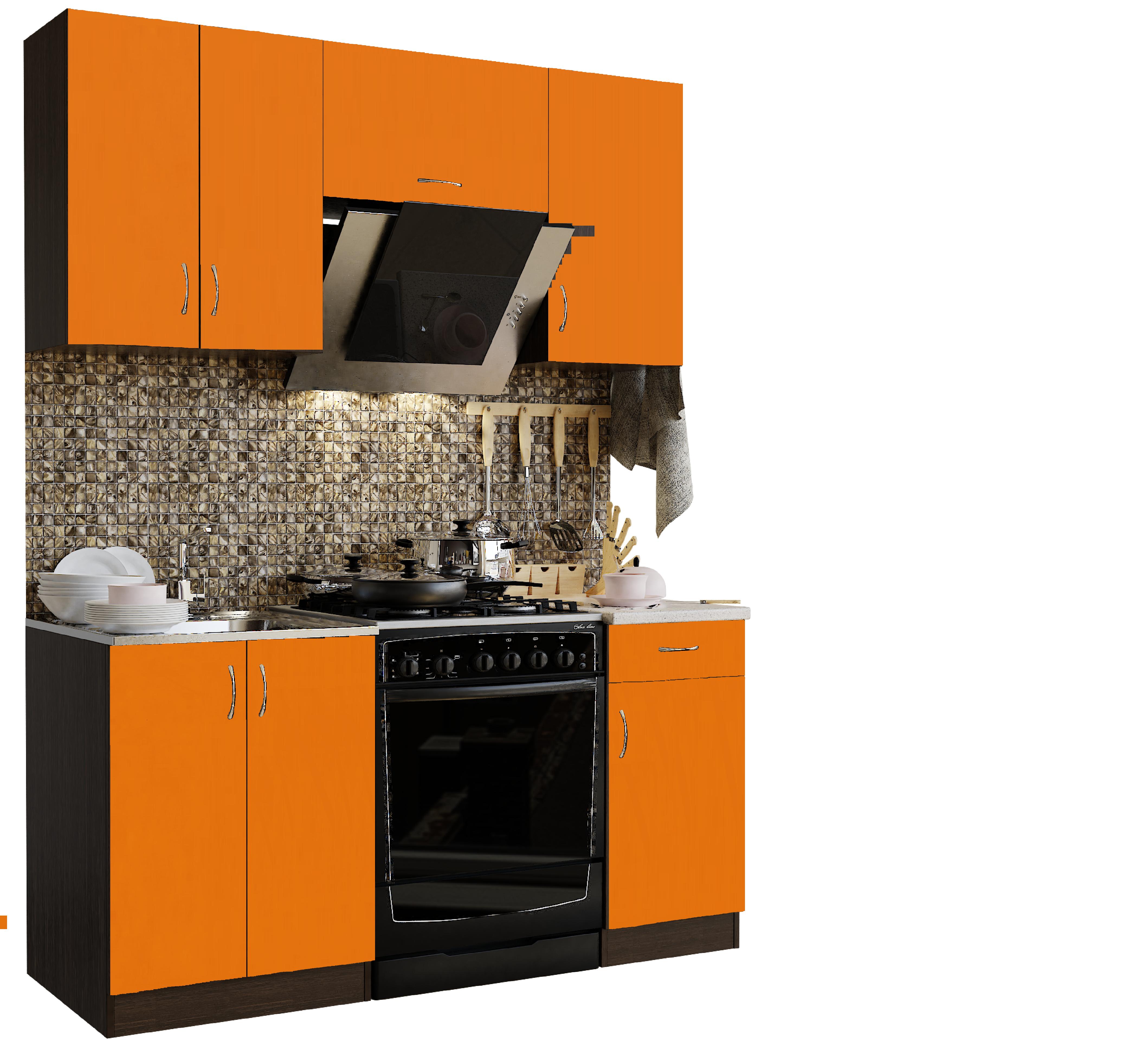 Кухонный гарнитур Sanvut ГК1600-3.13.2(1) Венге / Оранж