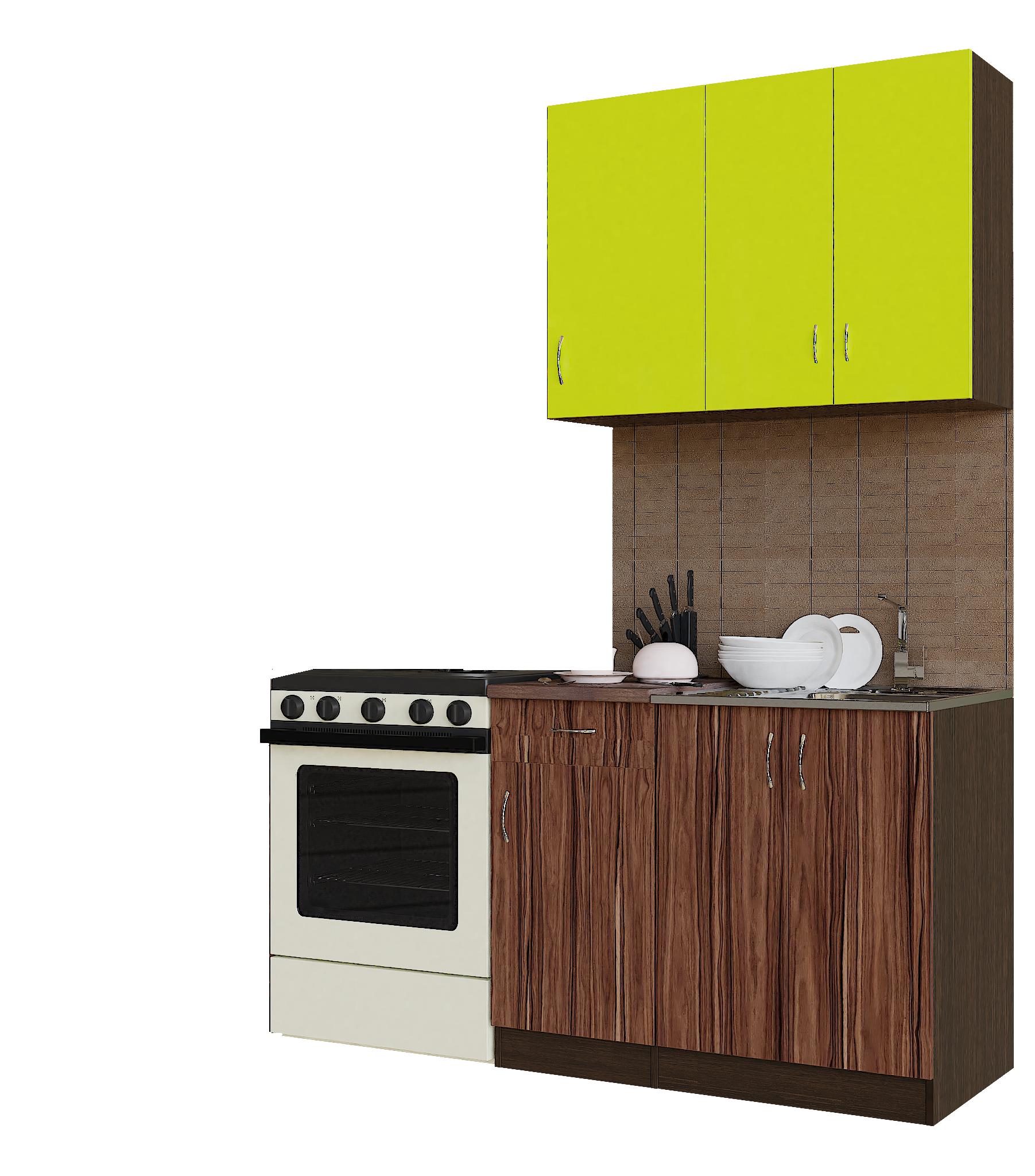 Кухонный гарнитур Sanvut ГК1000-3.11_8.1 Венге / Лайм / Венге / Эбони темный