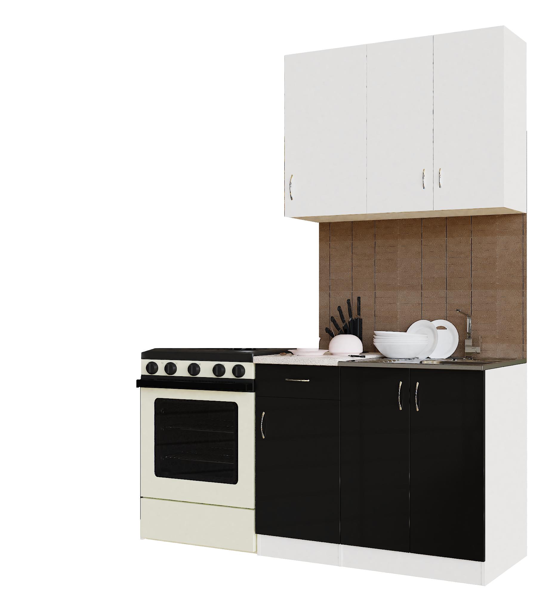 Кухонный гарнитур Sanvut ГК1000-5.5_7.2 Белый / Черный (гренобль)