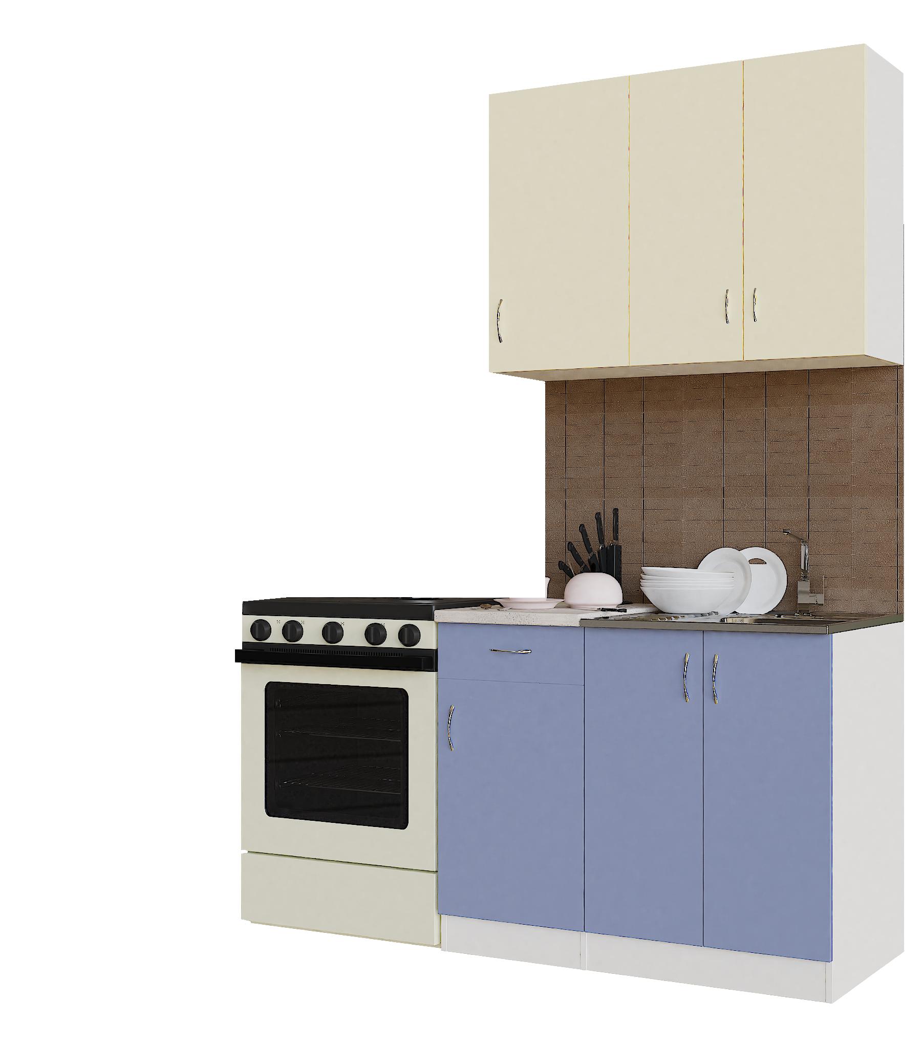 Кухонный гарнитур Sanvut ГК1000-5.6_9.2 Белый / Крем / Лаванда (гренобль)