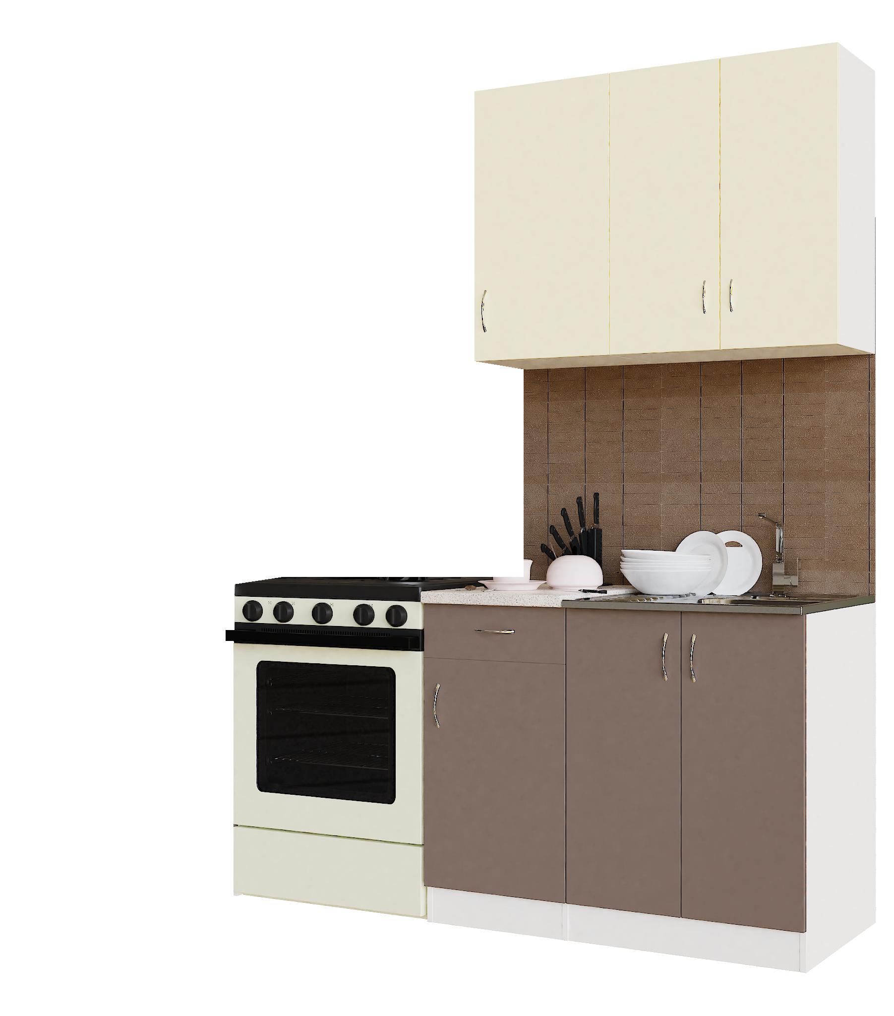Кухонный гарнитур Sanvut ГК1000-5.6_12.2 Белый / Крем / Мокко (гренобль)