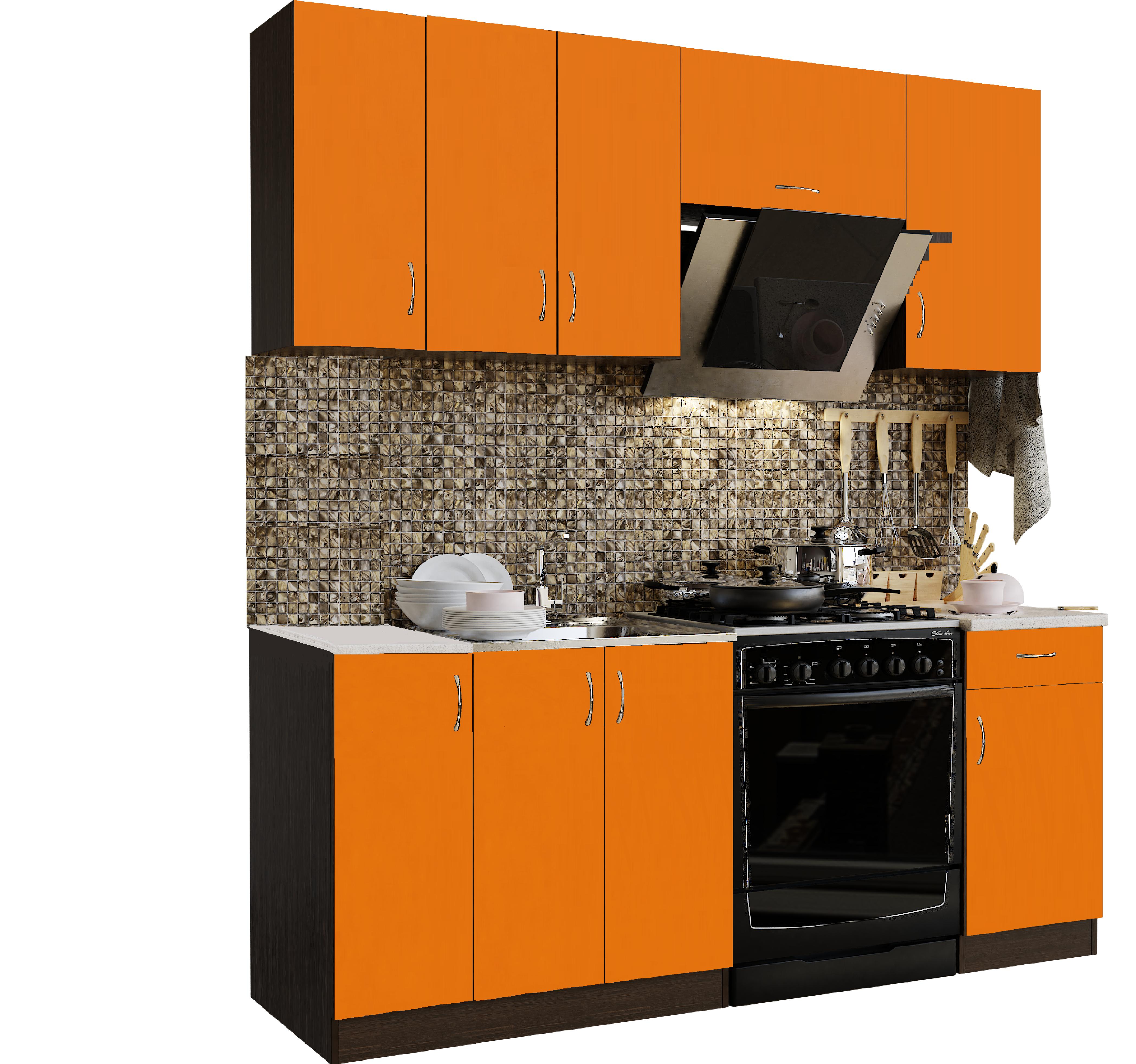 Кухонный гарнитур Sanvut ГК2000-3.13.2 Венге / Оранж (гренобль)