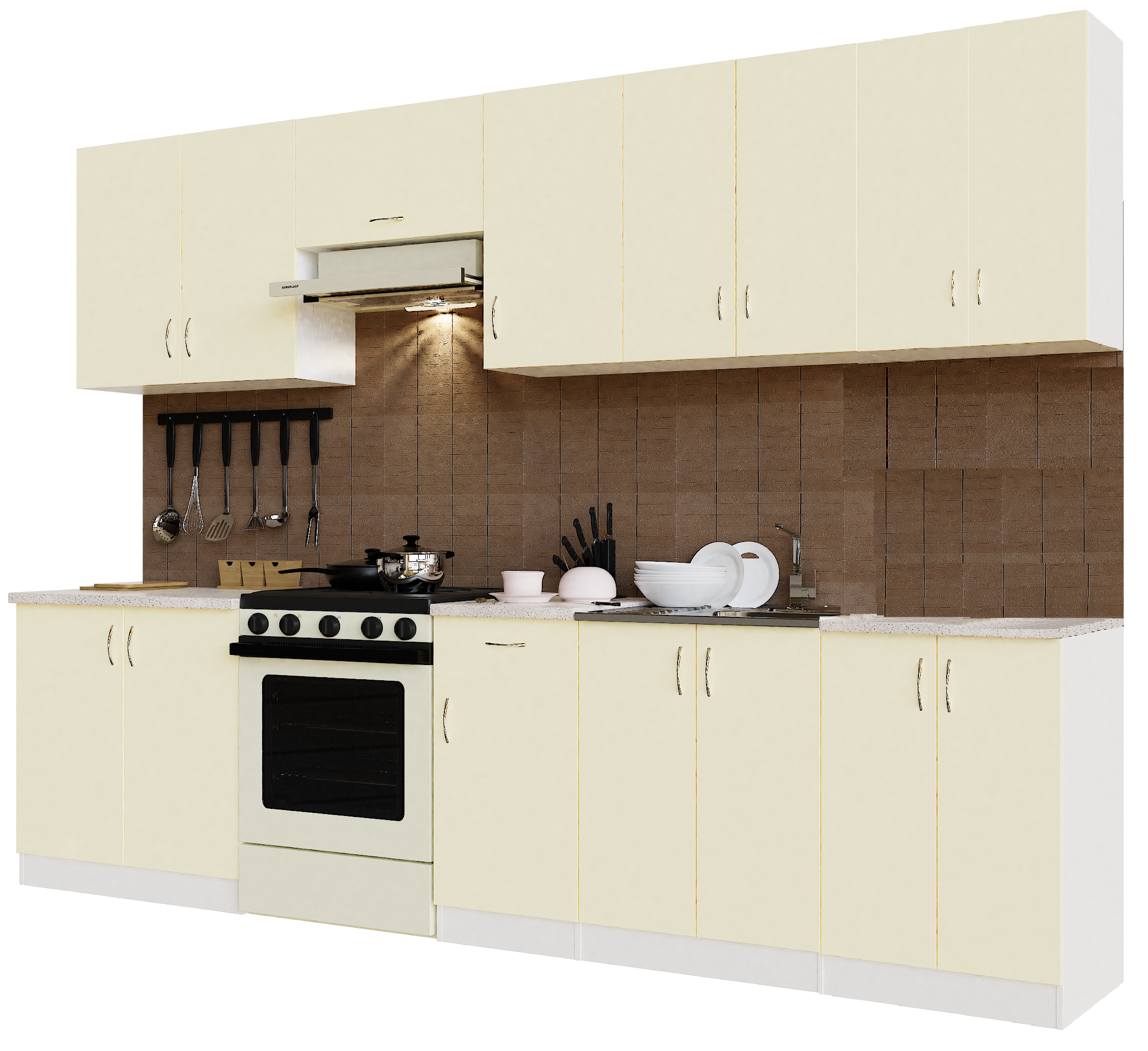 Кухонный гарнитур Sanvut ГК3000-5.6.2 Белый / Крем (гренобль)