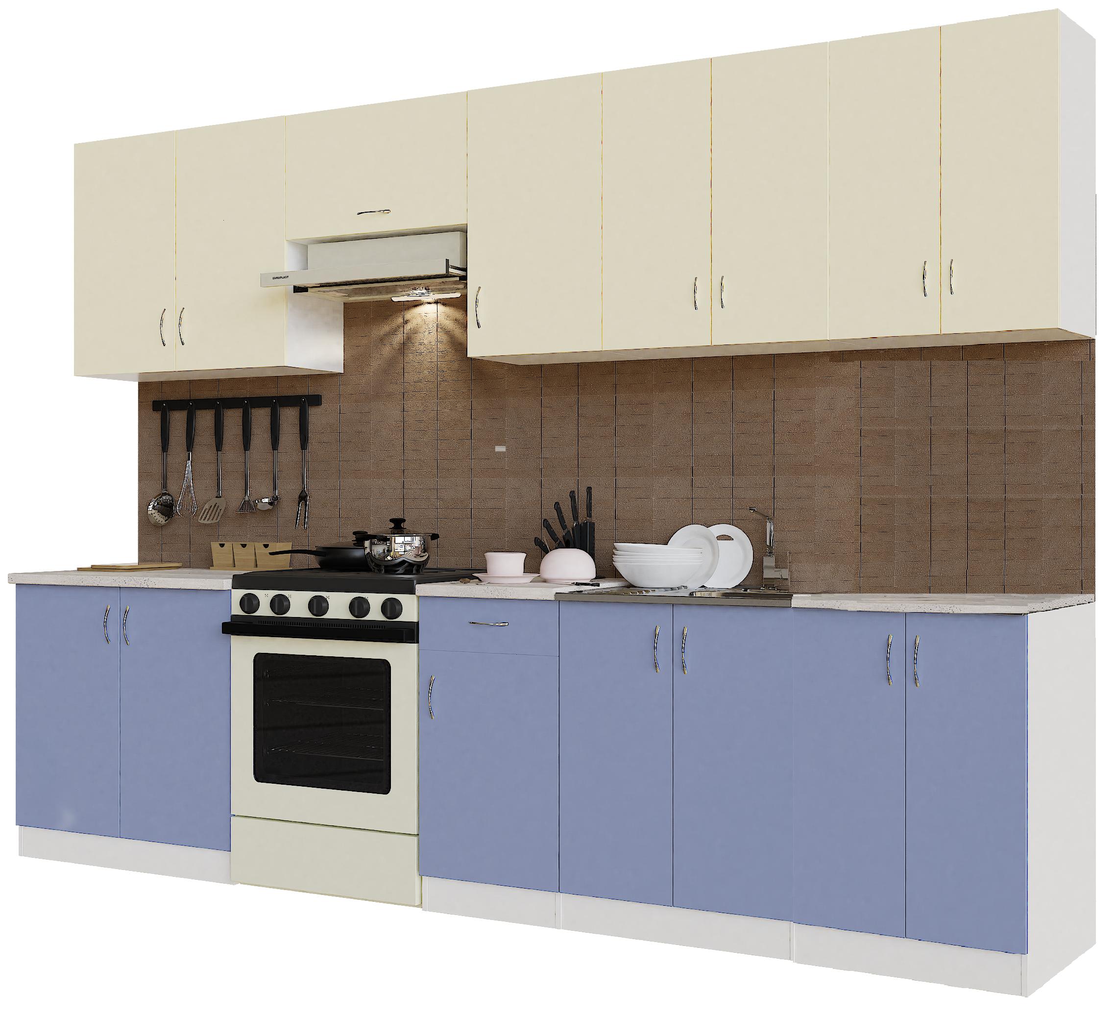 Кухонный гарнитур Sanvut ГК3000-5.6_9.2 Белый / Крем / Лаванда (гренобль)