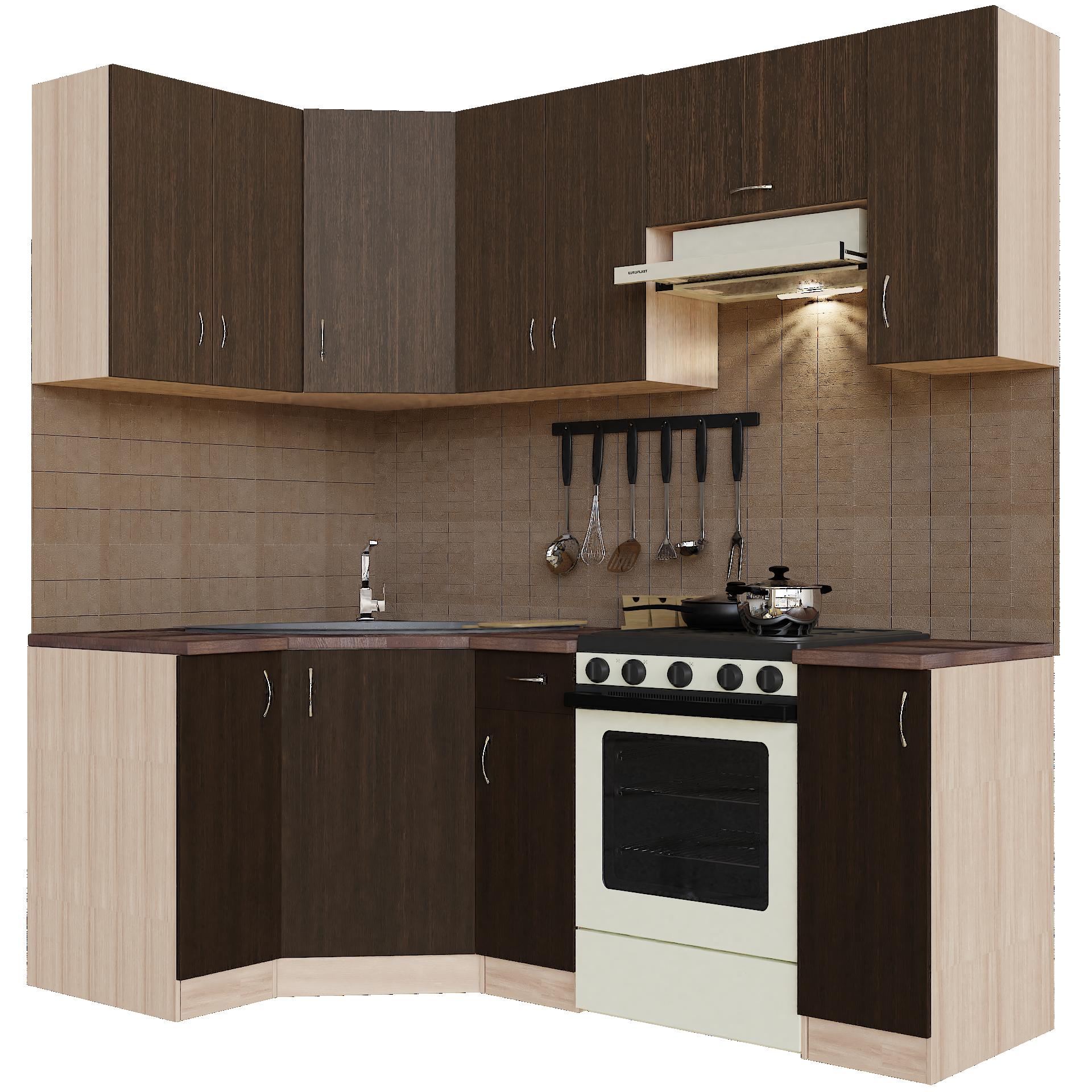 Кухонный гарнитур угловой Sanvut ГКУ2100-1.3.1 Венге / Шимо светлый (венге)
