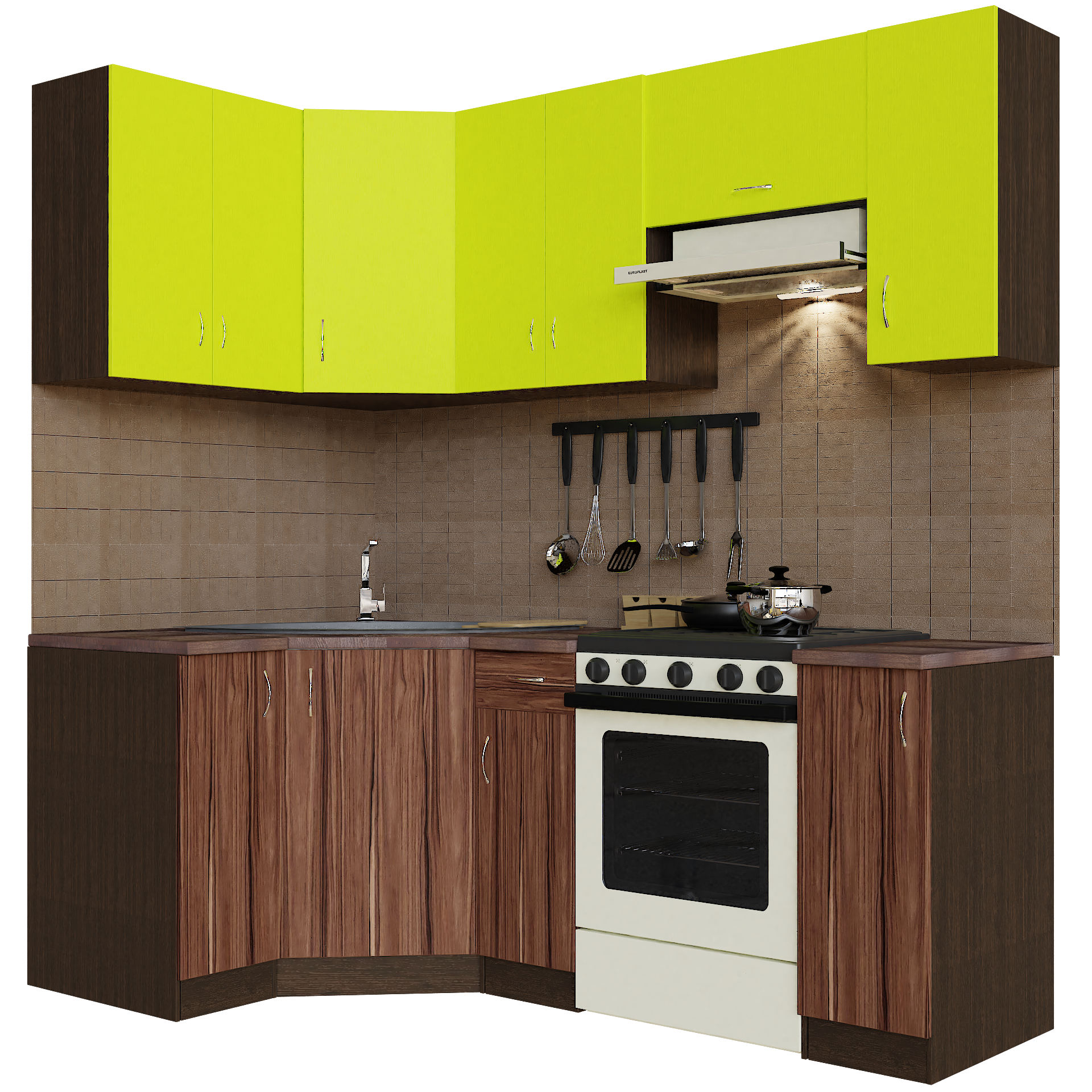 Кухонный гарнитур угловой Sanvut ГКУ2100-3.11_8.1 Венге / Лайм / Венге / Эбони темный