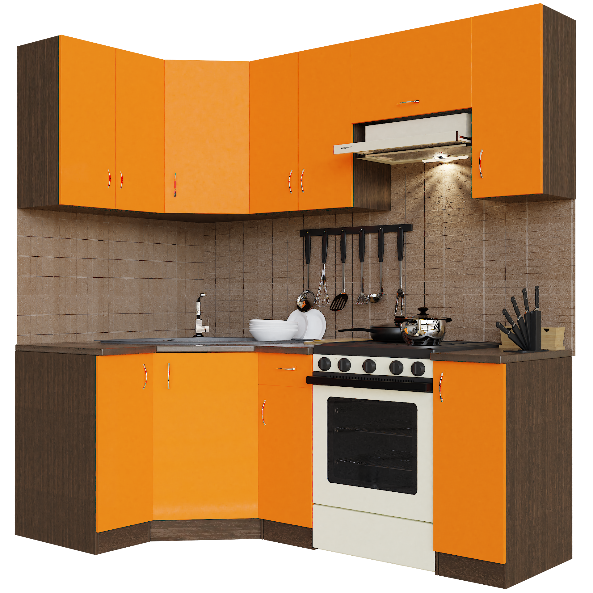 Кухонный гарнитур угловой Sanvut ГКУ2100-3.13.1 Венге / Оранж (венге)