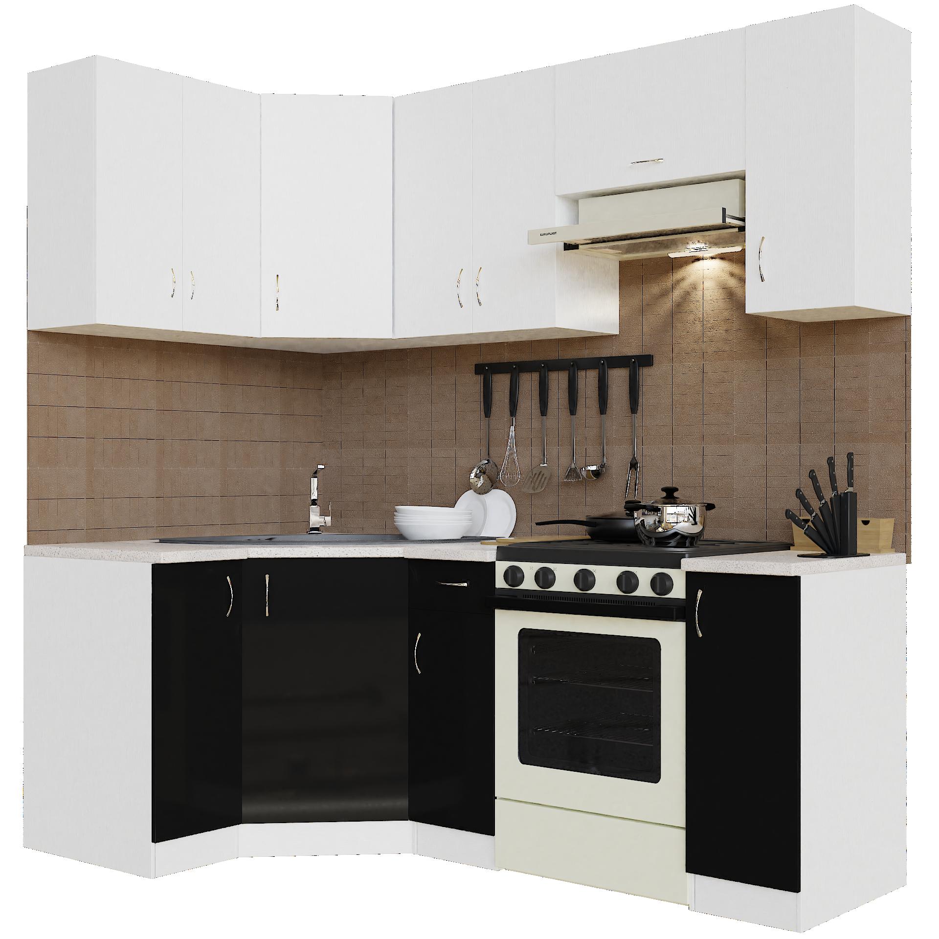 Кухонный гарнитур угловой Sanvut ГКУ2100-5.5_7.2 Белый / Черный (гренобль)