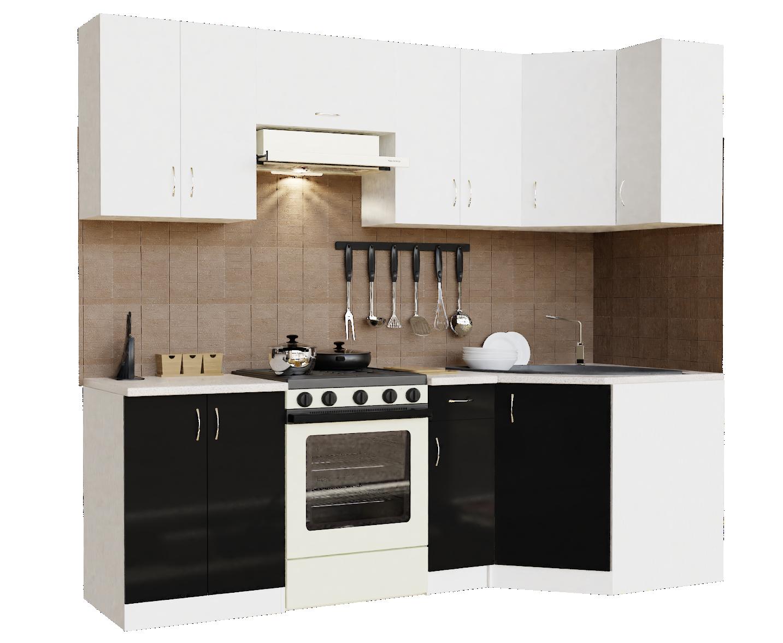 Кухонный гарнитур угловой Sanvut ГКУ2400-5.5_7.2 Белый / Черный (гренобль)