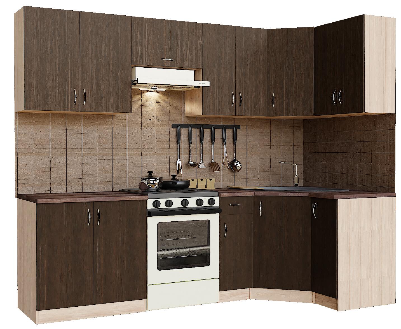 Кухонный гарнитур угловой Sanvut ГКУ2900-1.3.1 Венге / Шимо светлый (венге)