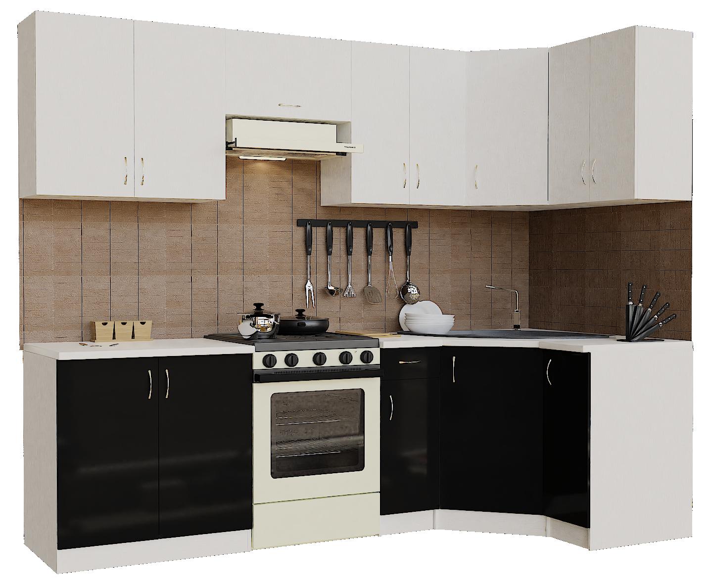 Кухонный гарнитур угловой Sanvut ГКУ2900-5.5_7.2 Белый / Черный (гренобль)