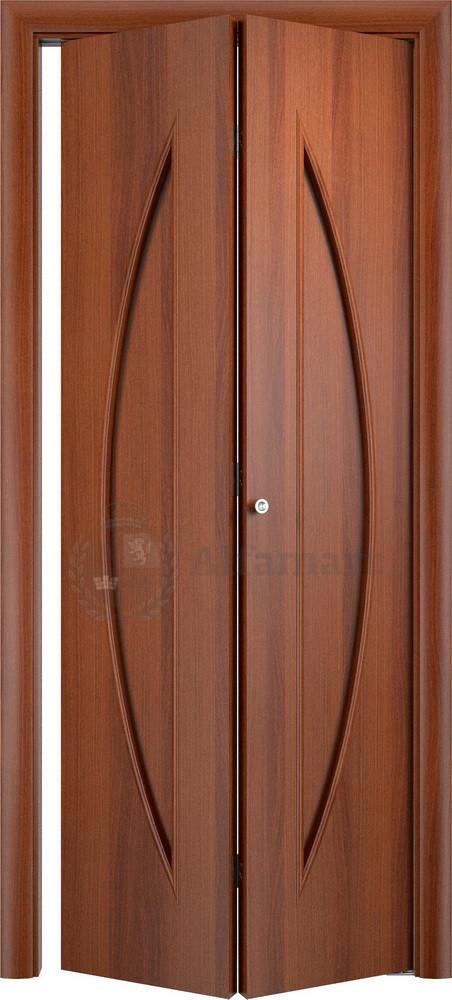 Складная дверь книжка Верда С-06 ДГ Итальянский орех (комплект)