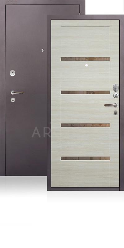 Сейф-дверь Аргус ДА-11 Антик капучино / Светлый горизонт / зеркало Иден