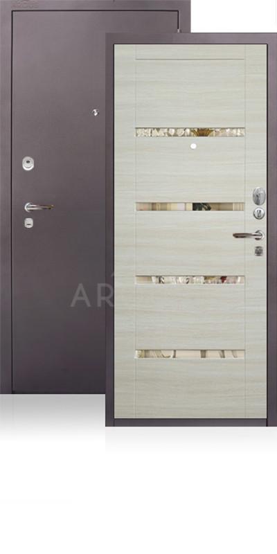 Сейф-дверь Аргус ДА-11 Антик капучино / Светлый горизонт / зеркало Николь