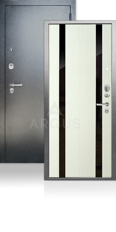 Входная дверь Аргус ДА-65 Дуэт Антик серебро / Белое дерево / стекло Кензо