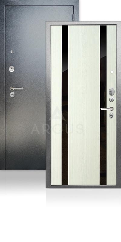 Дверь Аргус ДА-65 Дуэт Антик серебро / Белое дерево / стекло Кензо