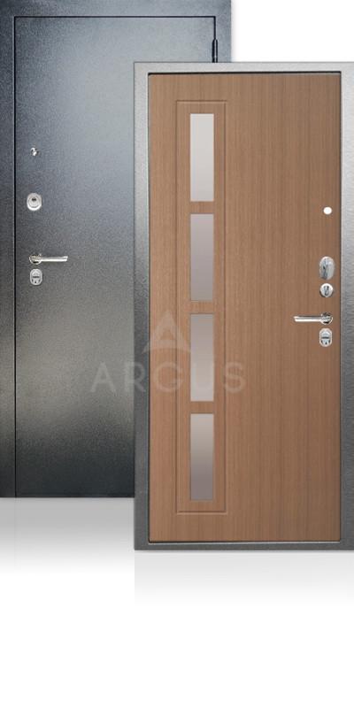 Входная дверь Аргус ДА-65 Резолит Антик серебро / Лен темный / зеркало Иден