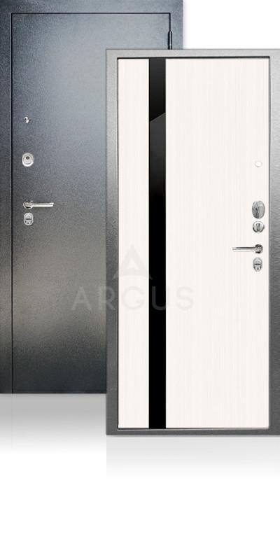Входная дверь Аргус ДА-65 Соло Антик серебро / Белый ясень / стекло Кензо