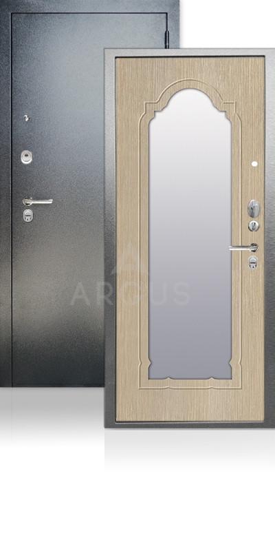 Входная дверь Аргус ДА-66 Прага Антик серебро / Капучино тисненый