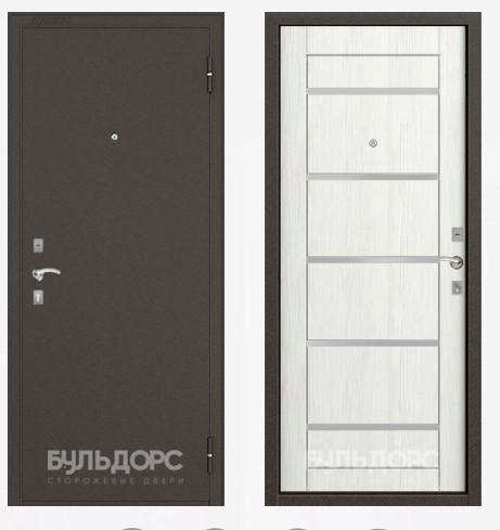 Дверь Бульдорс 10Р Букле шоколад / Ларче бьянко / белое стекло