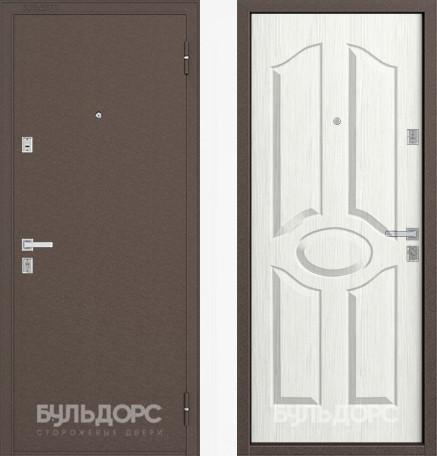 Дверь Бульдорс 12С Медь / Ларче бьянко фрезеровка С-1