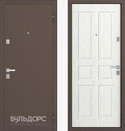 Дверь Бульдорс 12С Медь / Ларче бьянко фрезеровка С-2