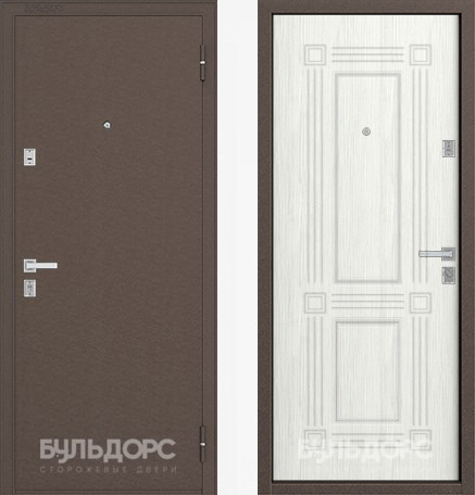 Дверь Бульдорс 12С Медь / Ларче бьянко фрезеровка С-4