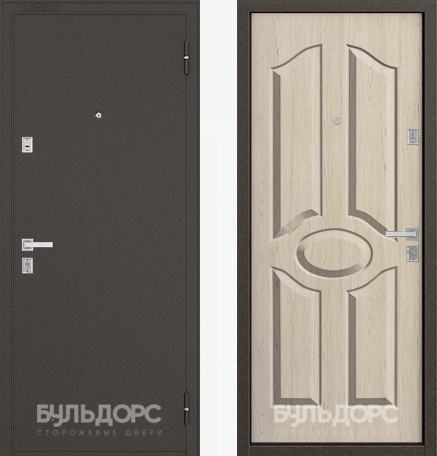 Дверь Бульдорс 12С Букле шоколад / Дуб выбеленный фрезеровка С-1