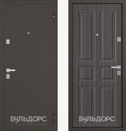 Дверь Бульдорс 12С Букле шоколад / Дуб серый фрезеровка С-2