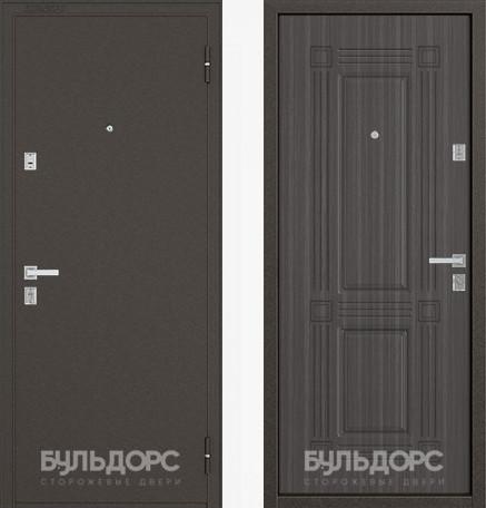 Дверь Бульдорс 12С Букле шоколад / Дуб серый фрезеровка С-4