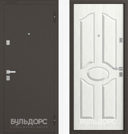Дверь Бульдорс 12С Букле шоколад / Ларче бьянко фрезеровка С-1