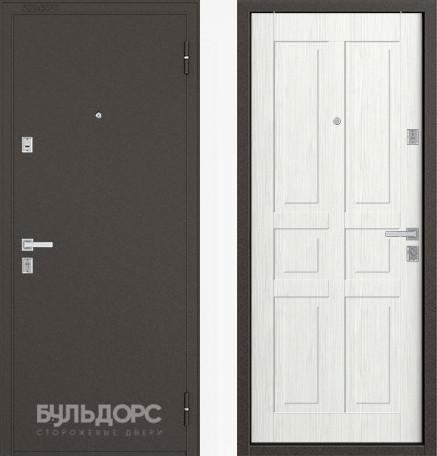 Дверь Бульдорс 12С Букле шоколад / Ларче бьянко фрезеровка С-2