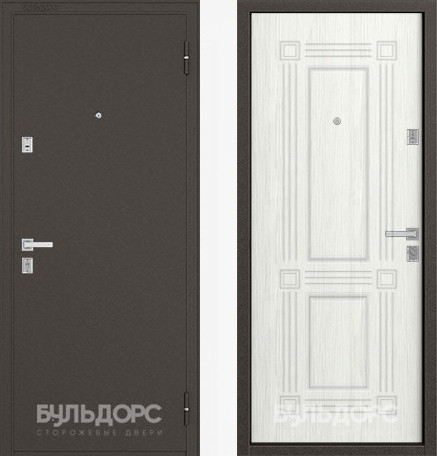 Дверь Бульдорс 12С Букле шоколад / Ларче бьянко фрезеровка С-4