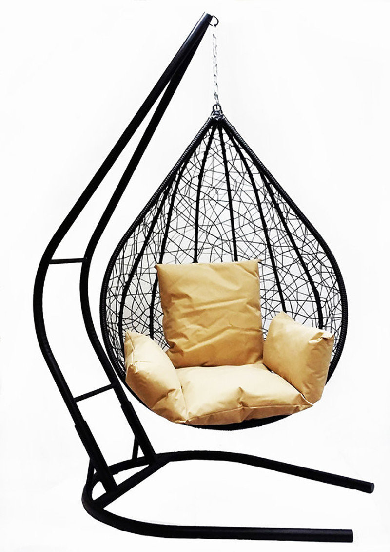 Подвесное кресло из ротанга BiGarden Alanya Black