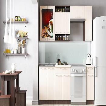 Кухонный гарнитур Ваша мебель Легенда-8 1,5 м (ЛДСП, Дуб выбеленный/корпус Венге, №6 )