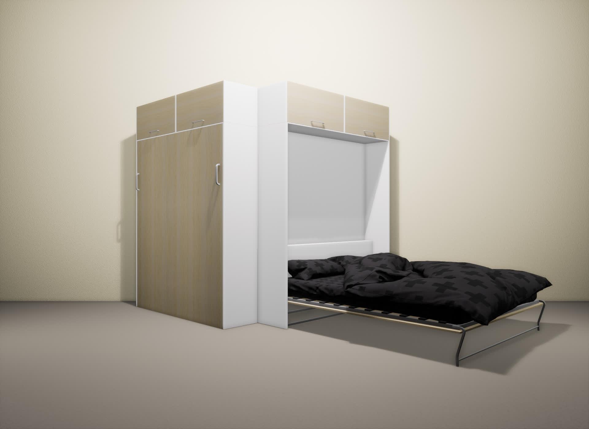 Шкаф-кровать SMART HOME Альфа белый/молочный дуб