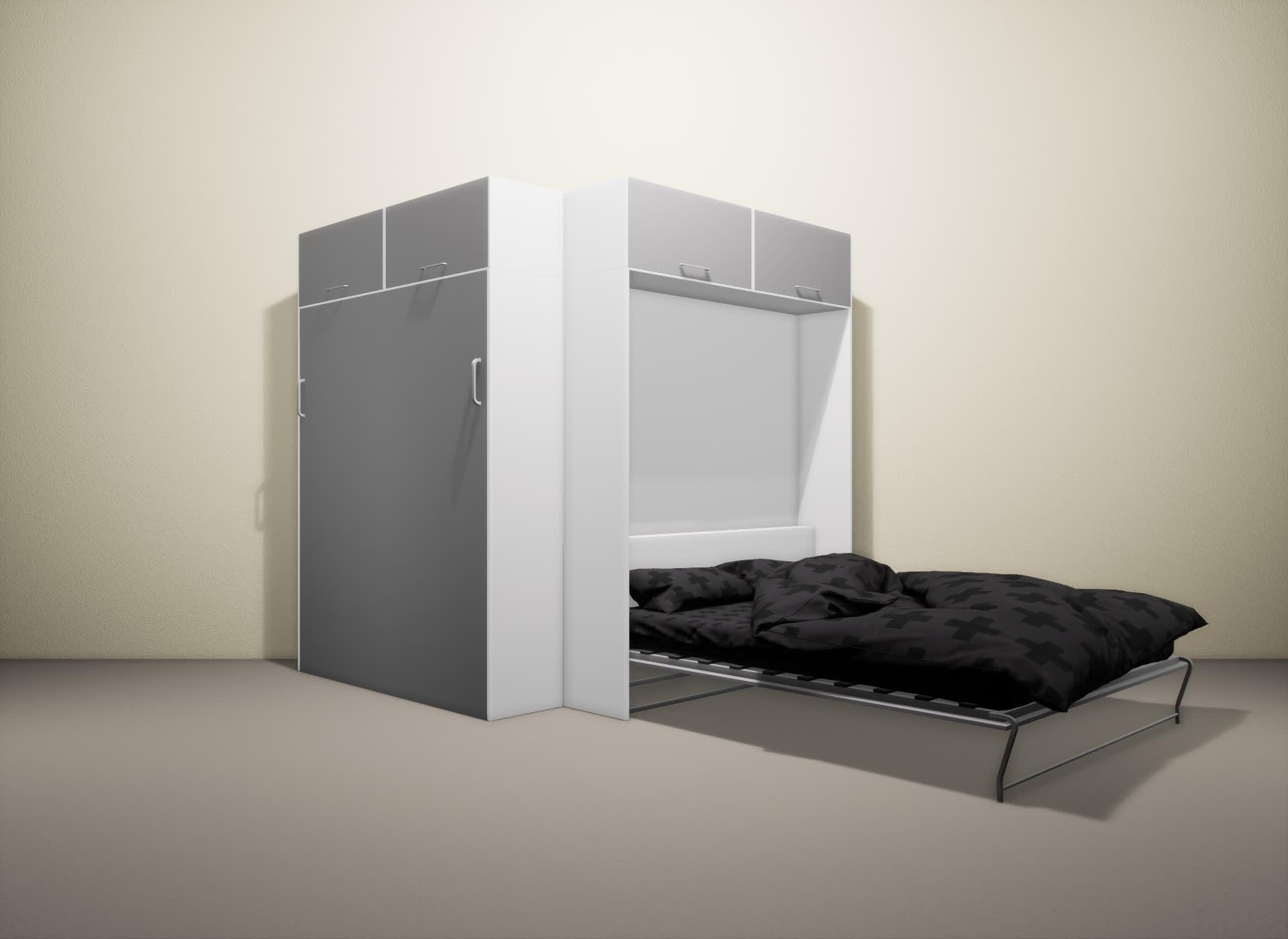 Шкаф-кровать SMART HOME Альфа белый/серый