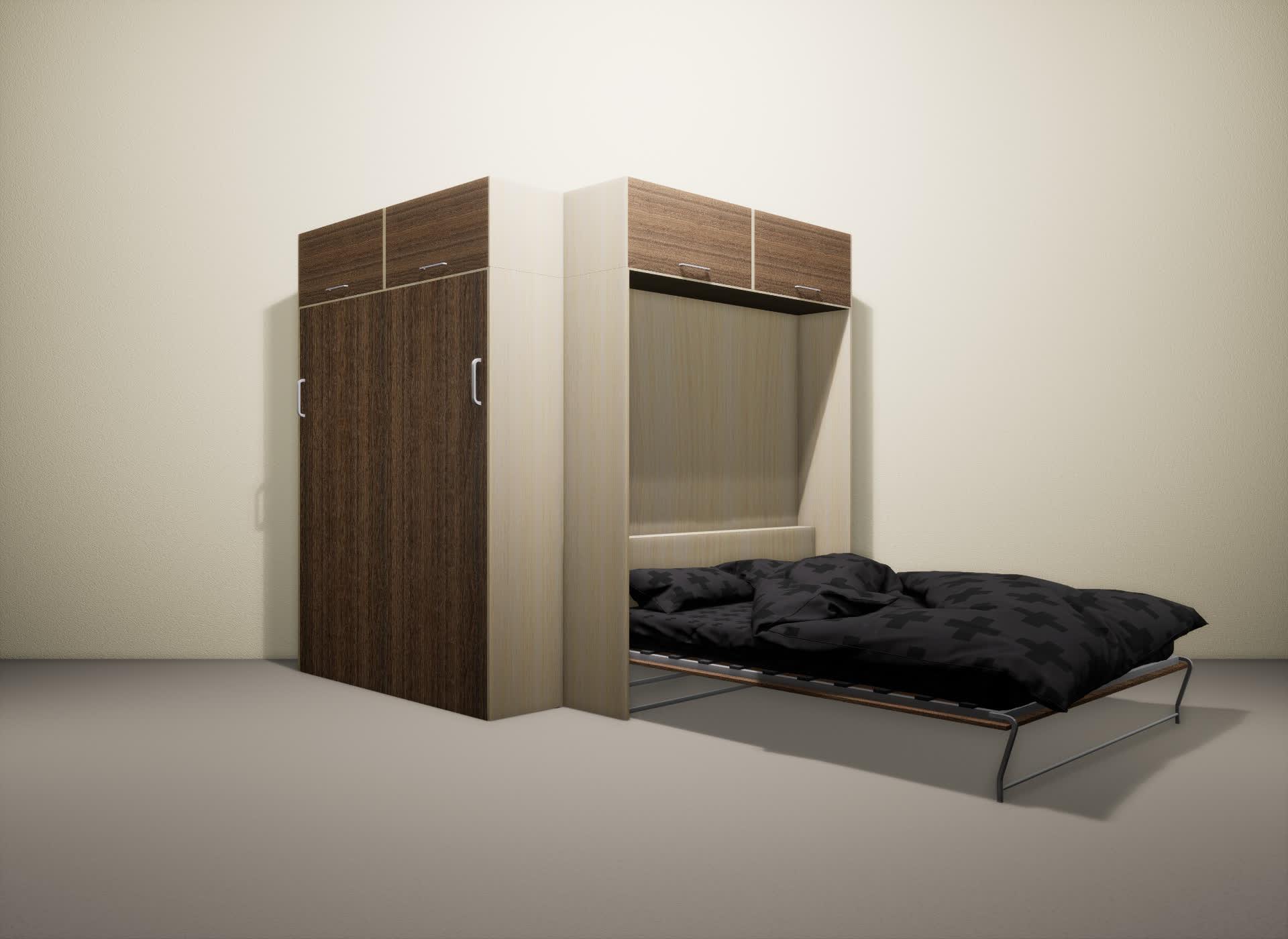 Шкаф-кровать SMART HOME Альфа молочный дуб/шамони